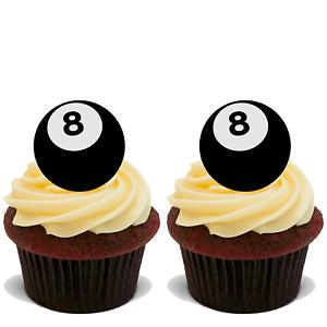 30 X 8 Bola de piscina Stand Up Comestibles Arroz Oblea Tarjeta Cake Toppers ocho Snooker D1