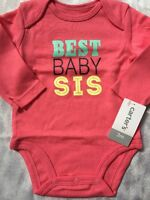 Girls 6 Months Best Baby Sis Bodysuit Pink $12 Snap Shirt Sister L/s