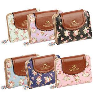 Fj-Eg-Donna-Floreale-Zip-Mini-Portafogli-Corto-Design-Portamonete-Porta-Carte