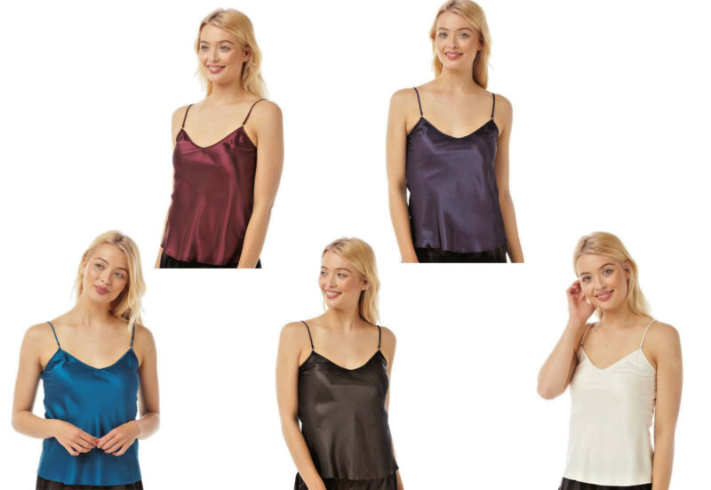 Ladies Reversible Satin Camisole/vest Top Ivory,black,navy,burgundy,teal 10-24