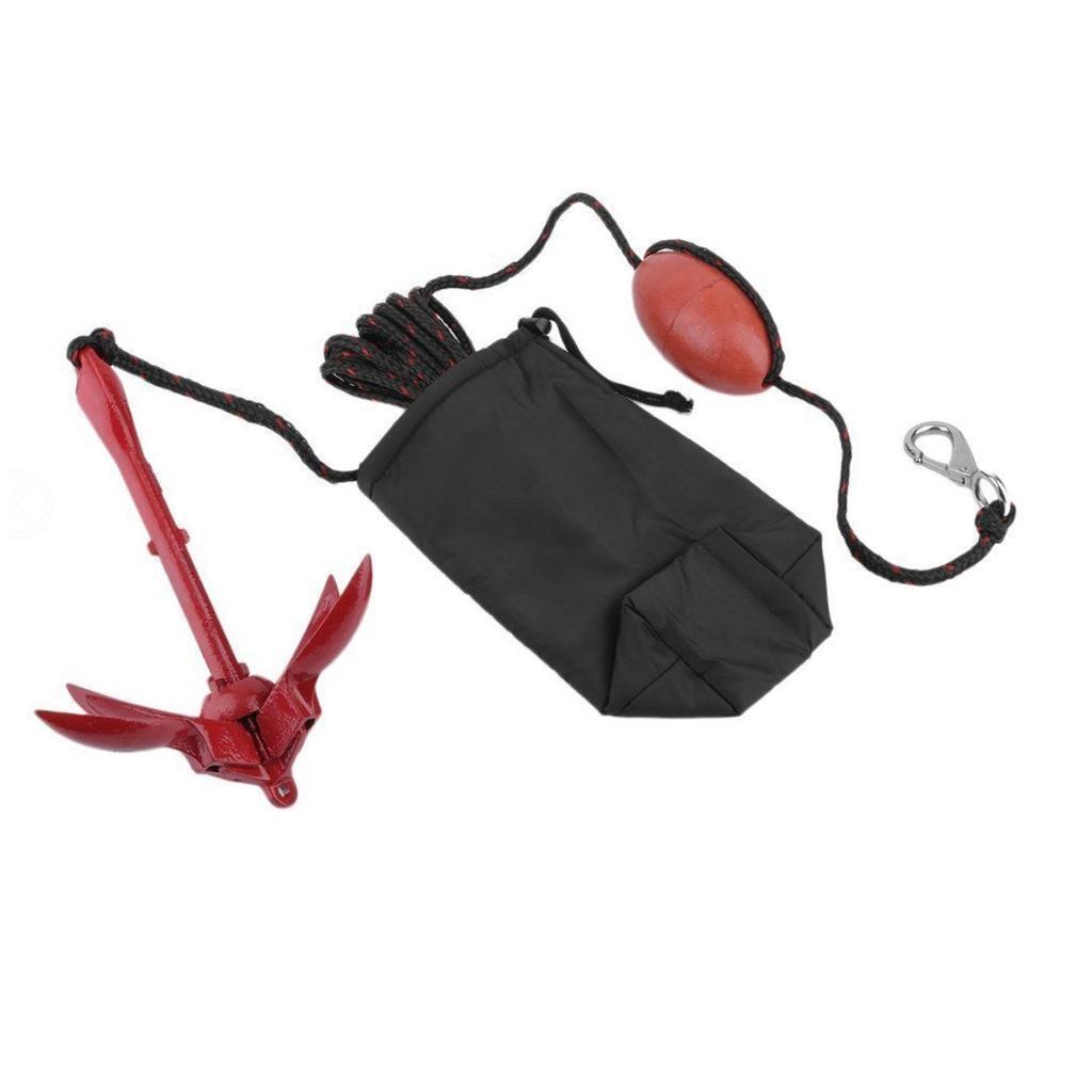 Kayak Fishing Boat Canoe Jet Ski Folding Anchor Buoy Rope Kit & Storage Bag