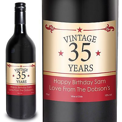 Personalised Red Wine Vintage Numbers - Birthday, Retirement, Anniversary