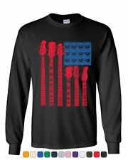 American USA Flag Guitar Speakers Rock And Roll Music Cool T Shirt Tee