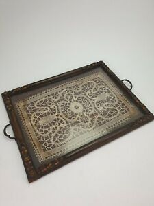 Antique-Carved-Wooden-Serving-Tray-with-Glass-Top-Lace-Fabric