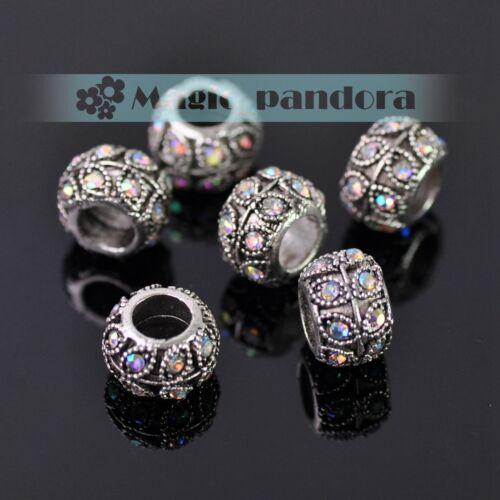 rhinestines suelta espaciador perlas pulsera europea Encantos de aleación de agujero grande de 5 un