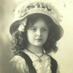 Postcard RPPC Early 1900s Vintage Europe Girl in Hat with Locket ...