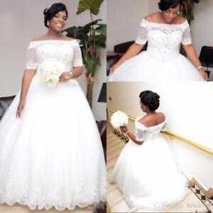 New Plus Size Lace Stunning Off Shoulder Wedding Dresses Bridal Gown ...