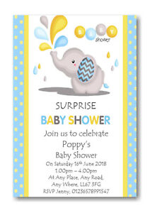 Image Is Loading 40 Personalised Surprise Boy 039 S Baby Shower