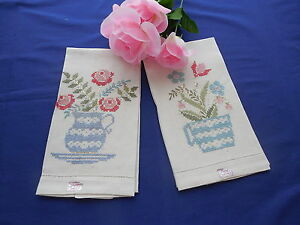 2 Vintage Paragon Linen Guest Towels w/ Cross Stitch Embroidery Unused