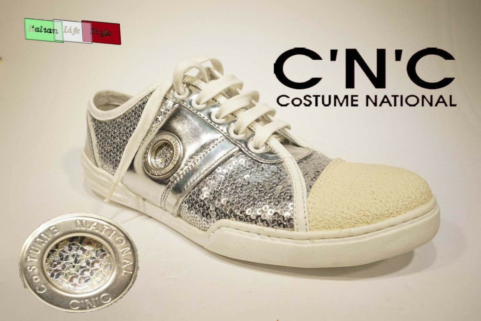 Nuove scarpe da donna CoSTUME NATIONAL Sneakers argento in vera pelle color argento Sneakers fe8999