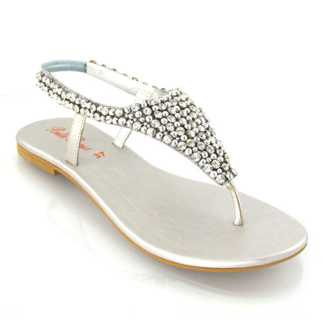 730aab6175410f Ladies Flat Diamante Toe Post Womens Pearl Holiday Dressy Party ...