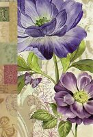 Purple Flowers And Butterfly With Postage Collage Theme Note Cards - Set Of 6