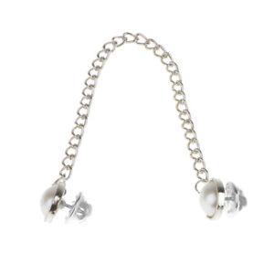 Silver-Pearl-Beads-Shirt-Blouse-Collar-Neck-Tip-Brooch-Pin-Chain-Tassel-Punk