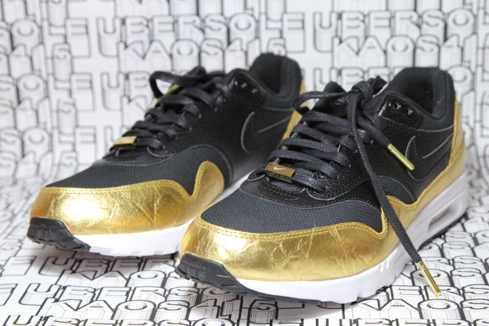 Nike Air Max 1 Ultra NFL Superbowl Black Gold White Liquid QS 839475 081 WOMEN 6