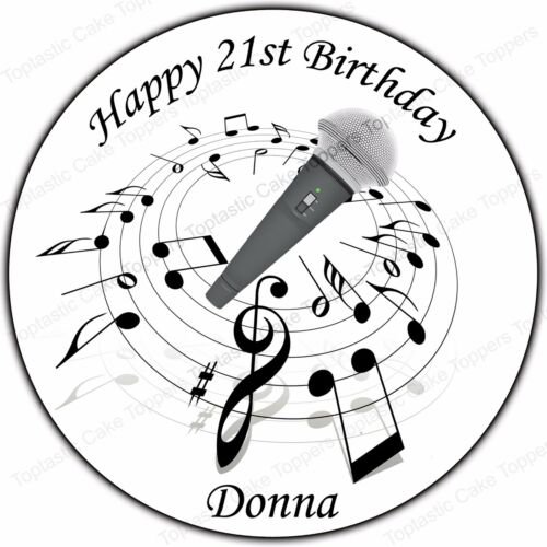 Personalised Microphone Music Singing Edible Icing Birthday Party Cake Topper