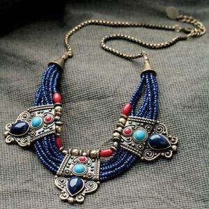 Retro-Turquoise-Coral-Blue-Bead-Tibetan-Necklace-Lapis-Lazuli-Stone-Necklace-x-1