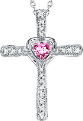 Pink Heart Diamond Necklace Love Wife Women Gift For Her Birthday Xmas Present