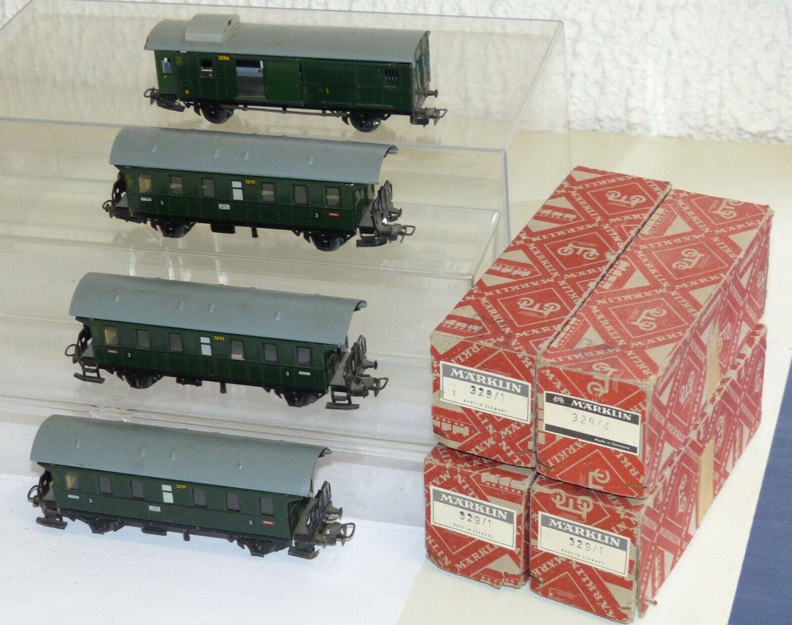 4x vieja Märklin vehículos implicados  3x 329 1 3291 y 329 4 3294 h0 de chapa OVP