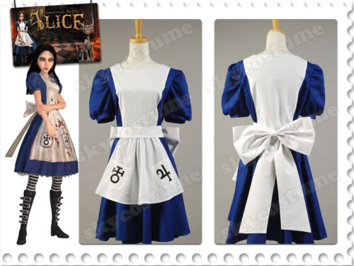 Alice Madness Returns Return Liddell Blau Kleid Cosplay Kostüm Karneval Party DE