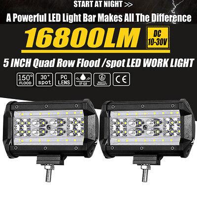 LED Pods Light Bar 5 Inch 168W 16800lm Superior LED Chips IP68 Waterproof,Off Road Lights Fog Light for Trucks Jeep ATV UTV SUV Boat,2 Year Warranty