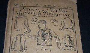 ANTIQUE CHILD PATTERN-BUTTERICK #4637-BOY AGE 9-DRESS SHIRT-2COLLARS-1920'S ERA