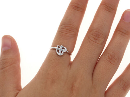 Antiqued Vintage Design Heart with Cross Ring Sterling Silver .925 Dainty Ring