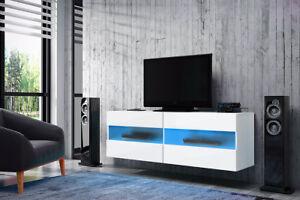 Brico Meuble Tv Avec Led Bleue Rouge 100 Cm Blanc Effet Chene Design