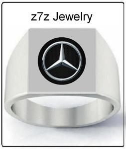MERCEDES-BENZ-Logo-Signet-Ring-men-sizes-9-thru-12-car-auto-emblem-jewelry
