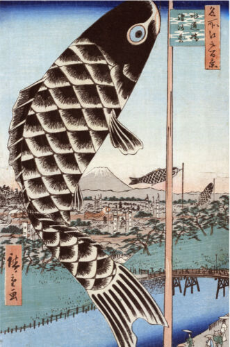 Japanese POSTER.Stylish Graphics.Fish Kite.Asian art.House Bar Room Decor 148i