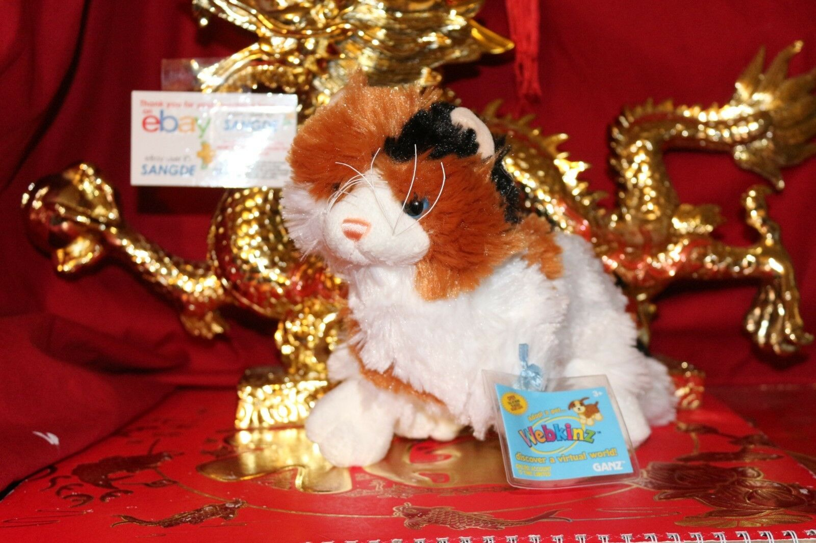 WEBKINZ CALICO CAT-COMES WITH UNUSED SEALED CODE TAG-NICE GIFT