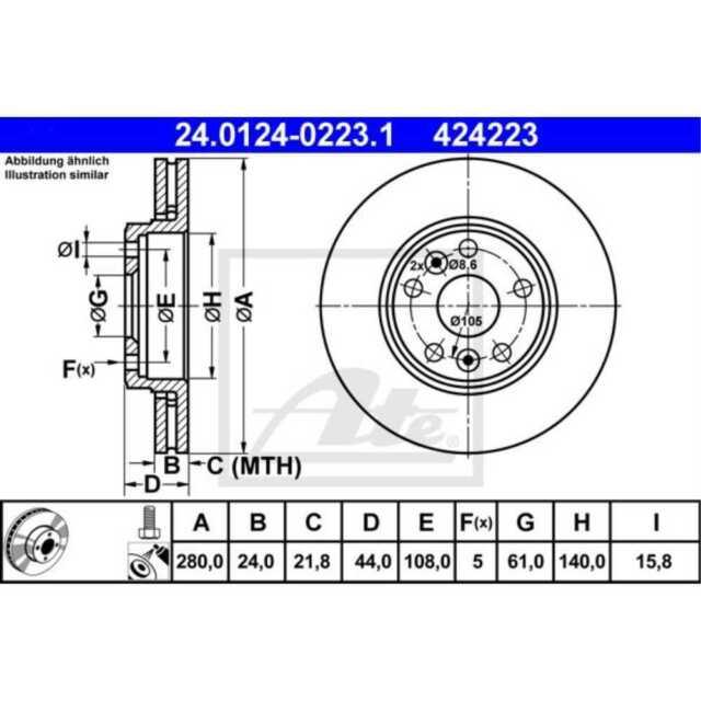 UAT 2x disques de frein ventilée naturellement enduit 24.0124-0223.1