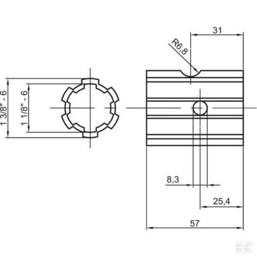"MASSEY FERGUSON 135 35 35x 550 TE20 Tractor PTO Shaft Sleeve Length 2 3//16/"" 56mm"