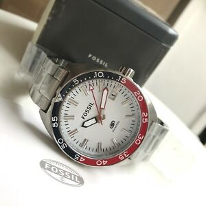 Fossil-Watch-FS5049-Breaker-Diver-Blue-Red-Bezel-Silver-Steel-Ivanandsophia