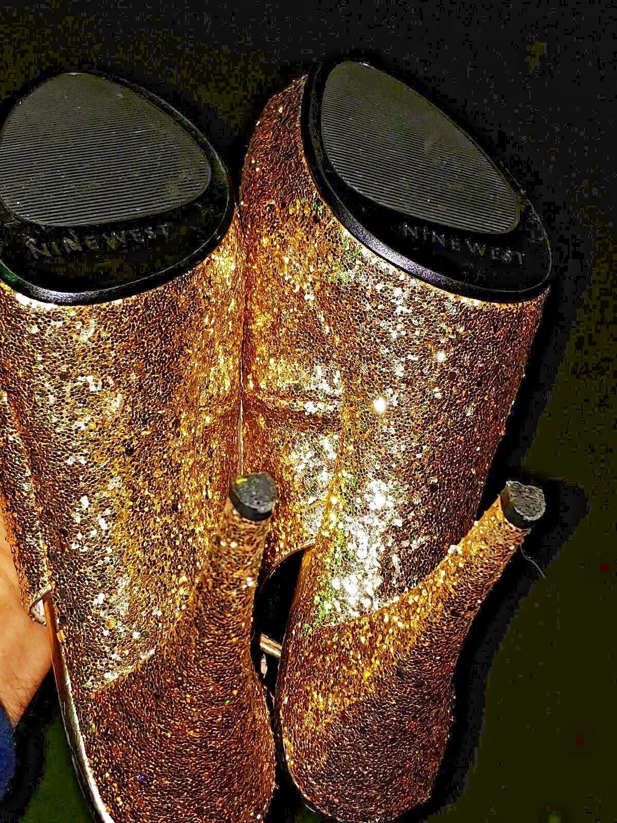 NINE WEST All All All That Glitter is gold Slingbacks High Heels Women shoes Sz 7.5 b4 74a16c