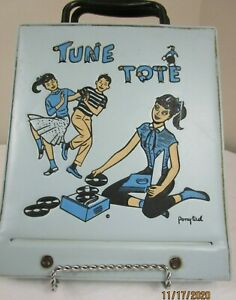 Vintage-Blue-Vinyl-Tune-Tote-45-RPM-Record-Holder-Case-With-6-1950-60-Records