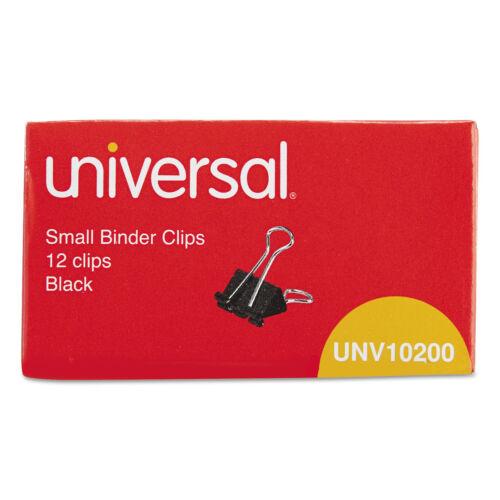 "UNIVERSAL Small Binder Clips 3//8/"" Capacity 3//4/"" Wide Black 12//Box 10200"