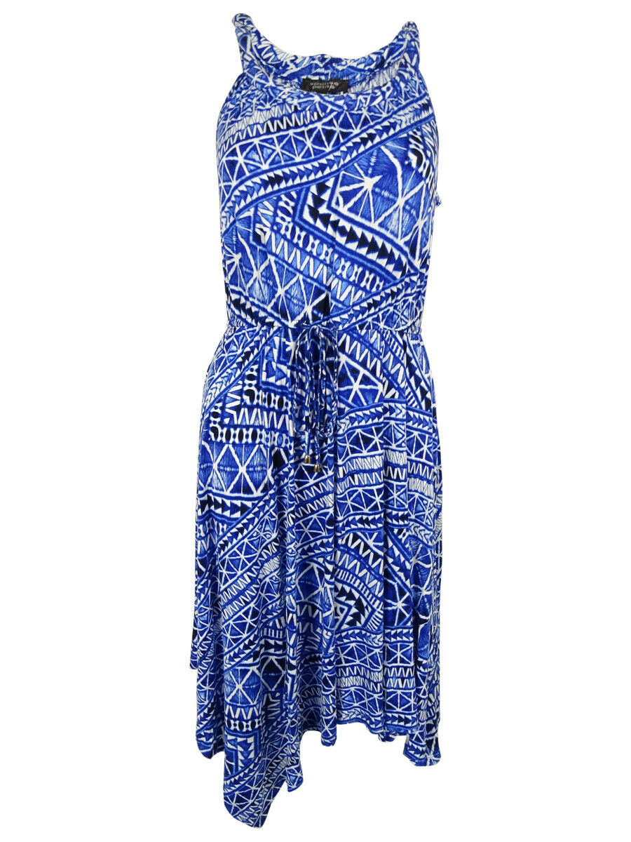 Spense Women's Sleeveless Asymmetrical-Hem Dress (PS, blueee Tone Tribal)
