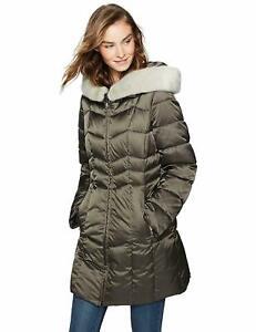 Haven-Outerwear-Women-039-s-Chevron-Puffer-Coat-Military-Green-Medium