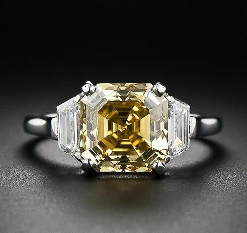 CertifIed 2.40ct Old Art Yellow Asscher Diamond 14K White gold Engagement Ring
