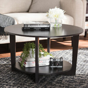 Contemporary-Wooden-Round-Coffee-Table-w-Bottom-Shelf-Living-Room-Accent-Brown