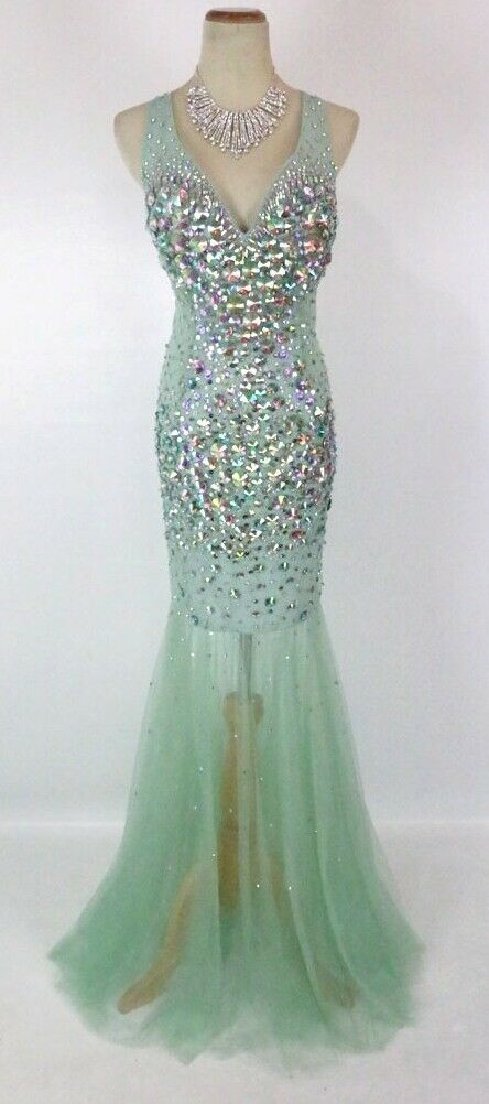 NWT NWT NWT JVN by Jovani Size 8 Prom Formal Evening Long  400 Gown Mint Mermaid Beads 1ce5e4