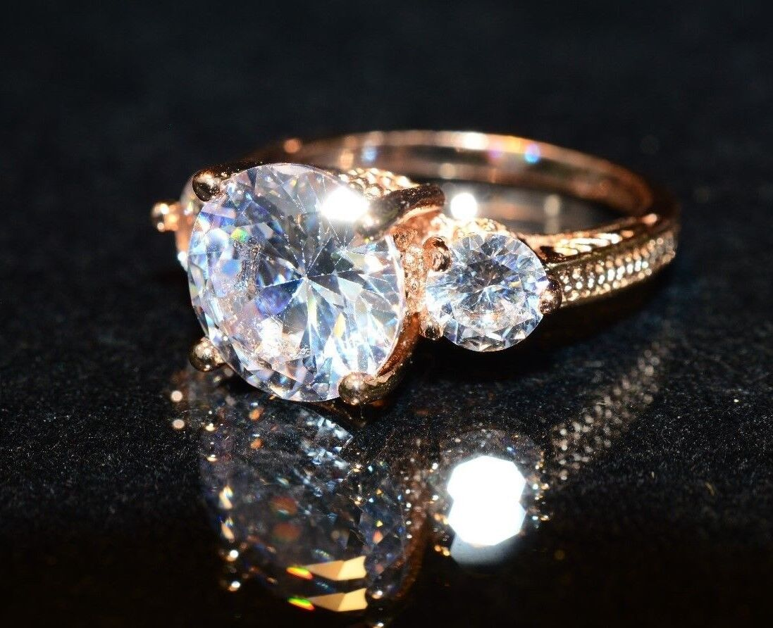 4.5ct TW CZ Trio Engagement Ring in 10K GP, size 6