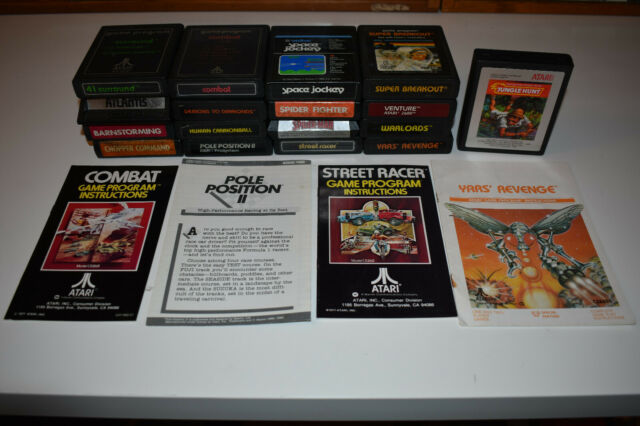 Lot of 17 Vintage Atari 2600 + 7800 Video Game Cartridges & 4 manuals TESTED!