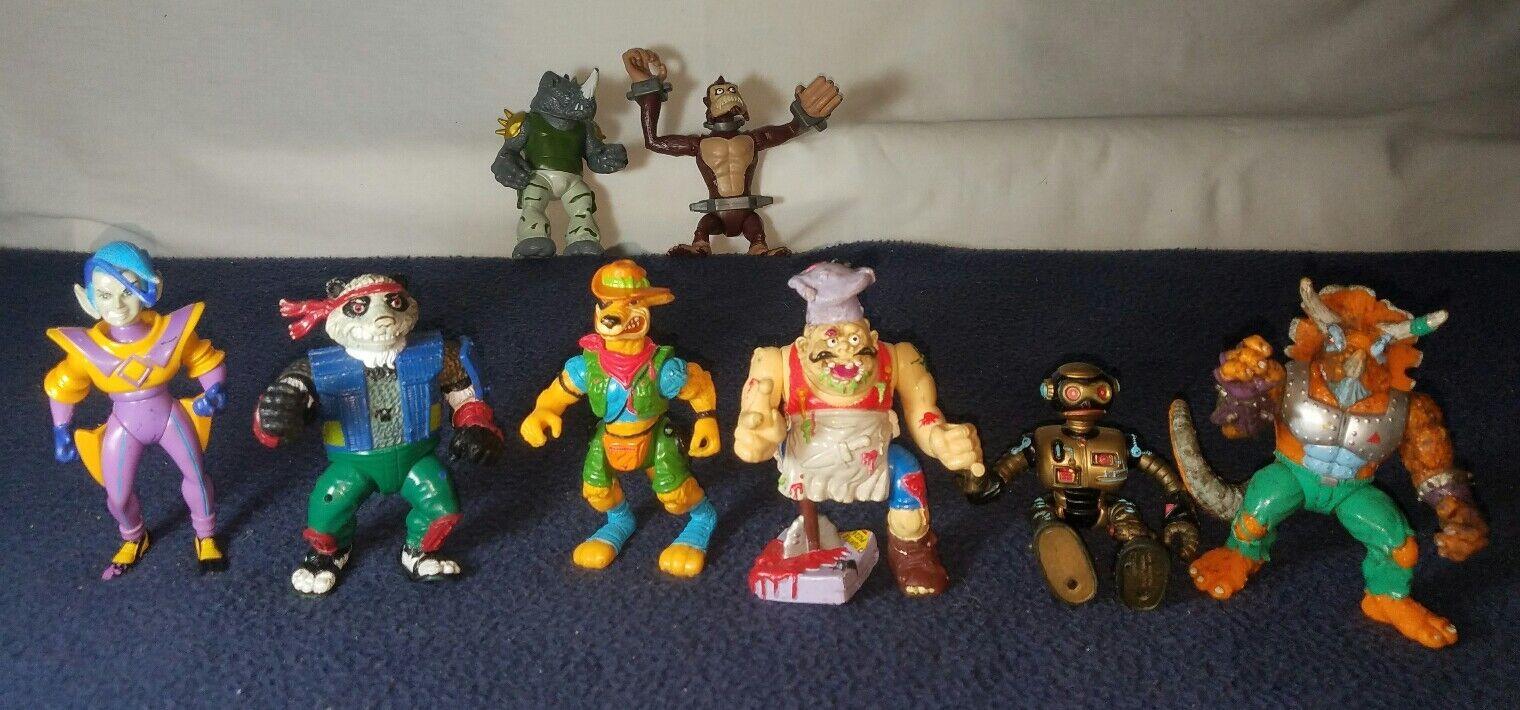 Vintage 1990s TMNT Action Figure Lot 8 Playmates Teenage Mutant Ninja Turtles