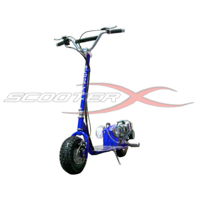 Scooterx Blue Dirt Dog 49cc Gas Off Road 2 Stroke Race Scooter