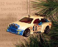Ford Escort Rally White Blue Race Car Racing Christmas Ornament Xmas