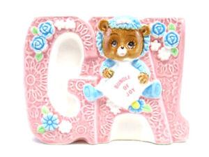 Lefton 1984 Nursery Planter Gal Pink Bear Succulent Ceramic Japan 04132