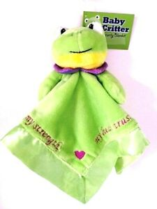 Security Blanket Baby Critter Green Frog Christian Scripture Plush Embroidery