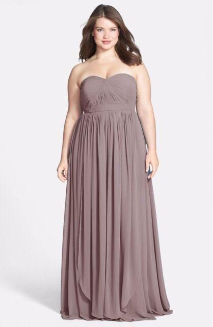e8e484bd0d130 Jenny Yoo 'Aidan' Convertible Strapless Chiffon Gown Plus size 24 - Pecan