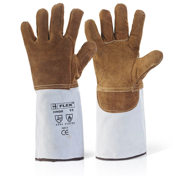 Premium Heat Resistant Fire Gloves - Wood Log Fireplace BBQ Burner Leather Stove